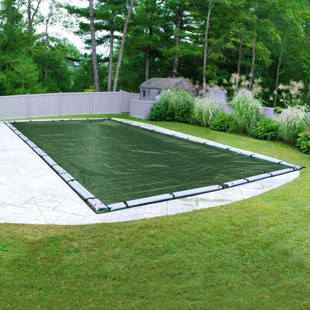 Extreme-Mesh 16 ft. x 32 ft. Rectangular Green Winter Pool Cover