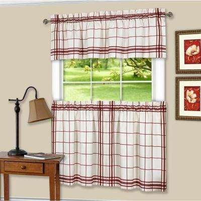 Bainbridge Burgundy Polyester Tier and Valance Curtain Set - 58 in. W x 24 in. L
