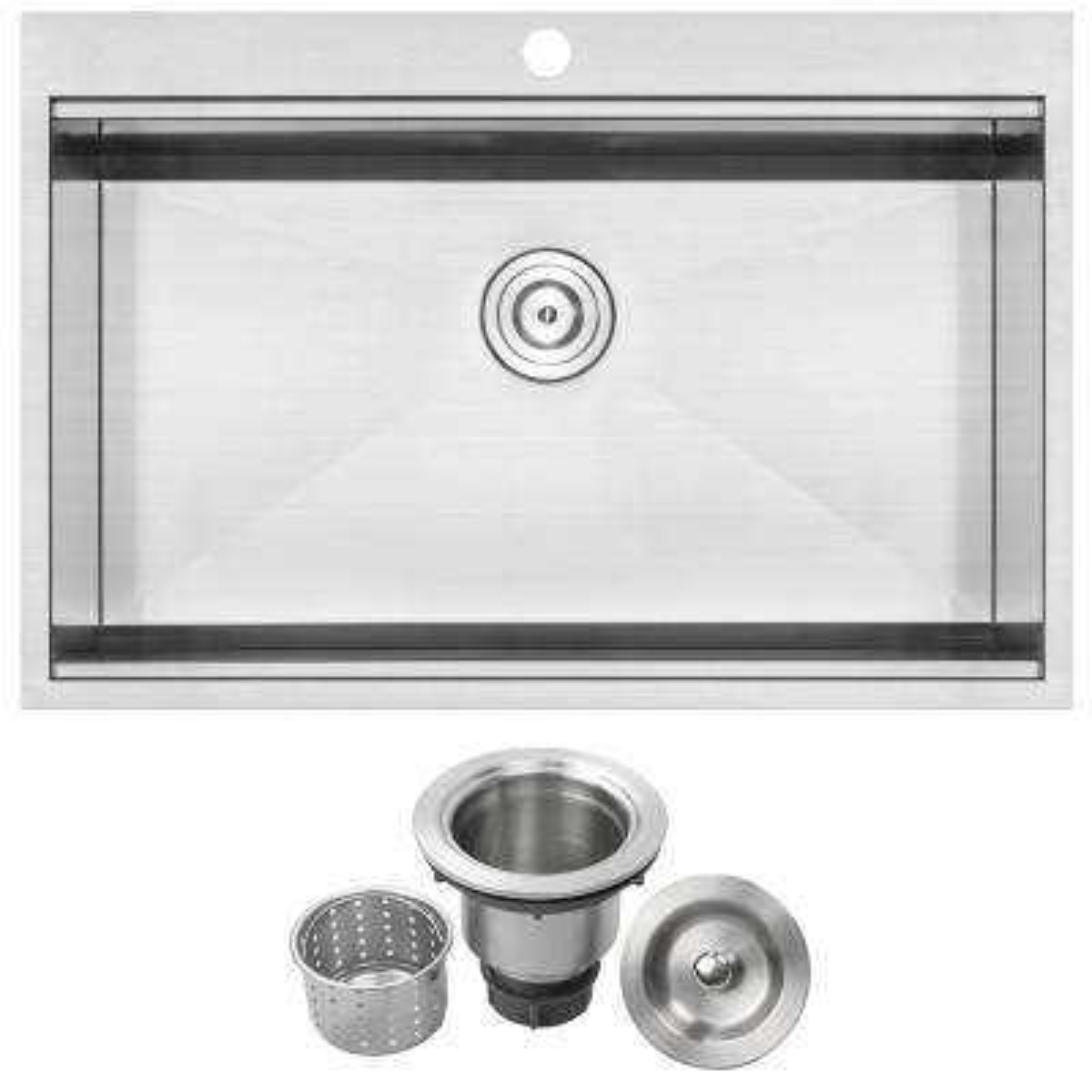 Bradford Zero Radius Drop-In 16-Gauge Stainless Steel 33 in. 1-Hole Single Basin Kitchen Sink with Basket Strainer