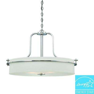 3-Light Polished Nickel Pendant with White Linen Shade