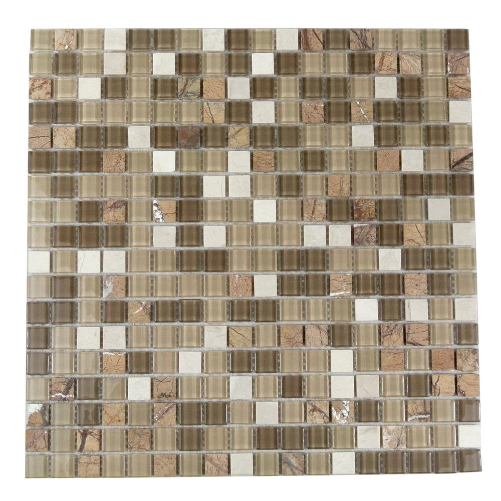 Abolos Crystal Stone Amber Grain Brown Square Mosaic 1 In X Gl And Wall Pool Tile 0 97 Sq Ft