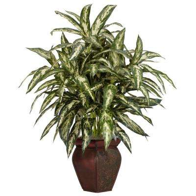 30 in. H Green Aglonema with Decortaive Vase Silk Plant