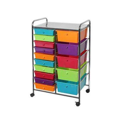 Pearlescent Multi-Color 15-Drawer Organizer Cart