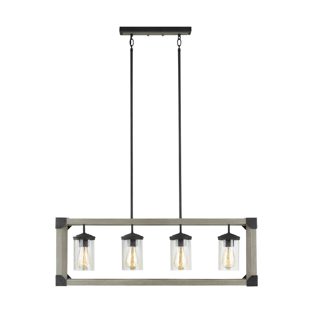 Sea Gull Lighting Dunning 36 in. W 4-Light Driftwood Gray Linear Island Chandelier with Clear Seeded Glass Shades and Dark Zinc Accents