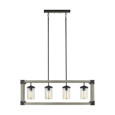 Dunning 36 in. W 4-Light Driftwood Gray Linear Island Chandelier with Clear Seeded Glass Shades and Dark Zinc Accents