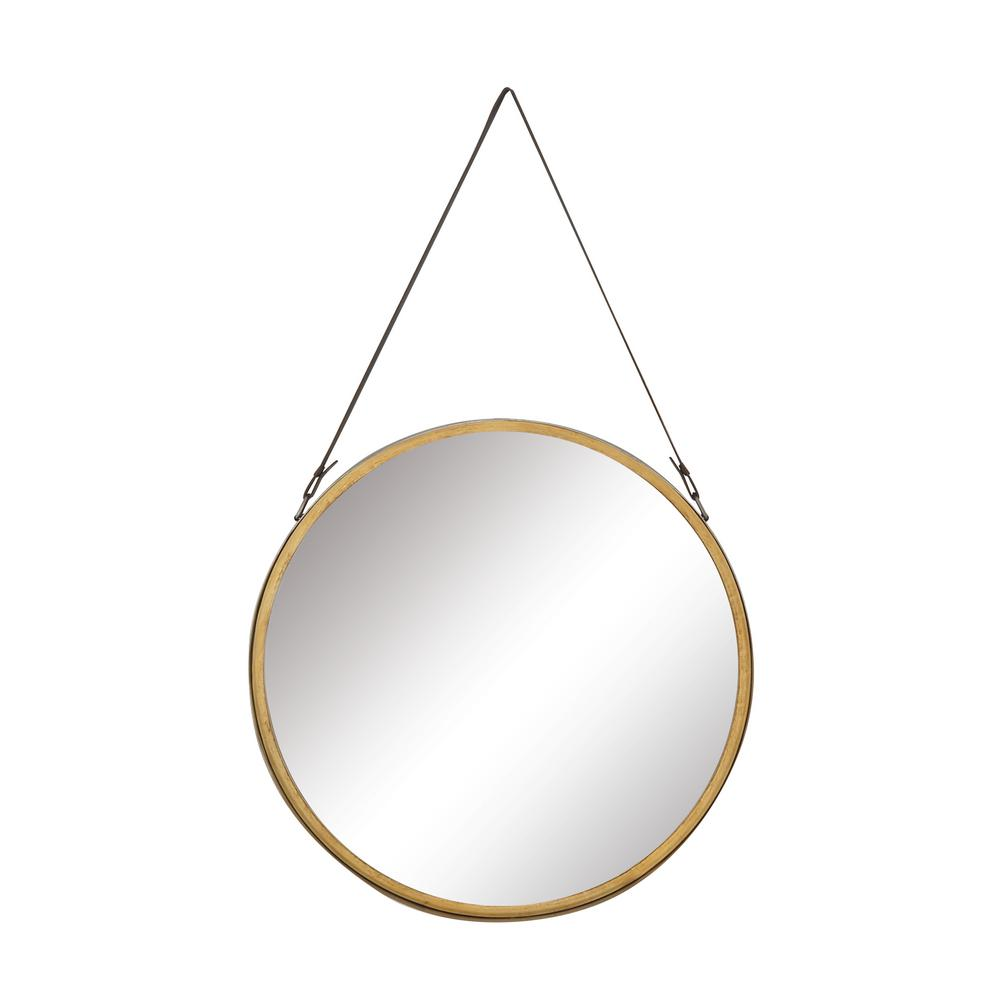 Medium Round Gold And Gray Metallic Modern Mirror (33 in. H x 20 in. W)
