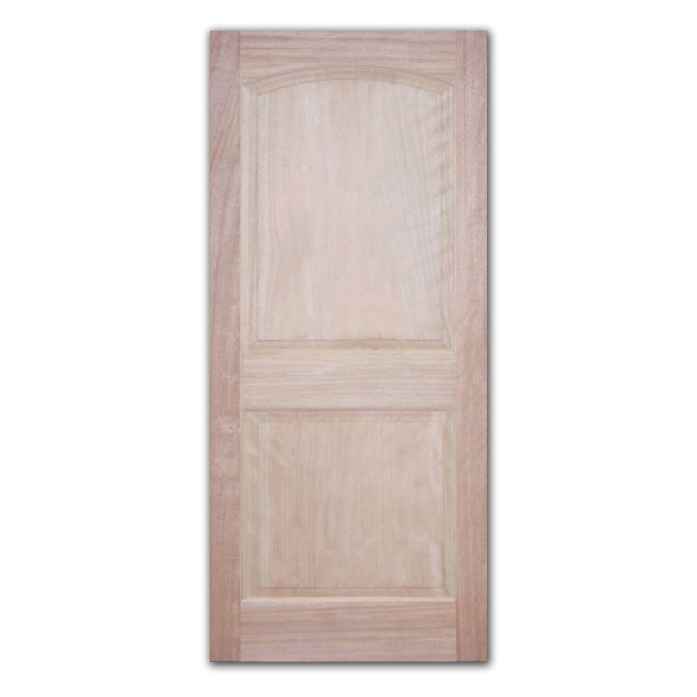 Steves & Sons Classic 2-Panel Unfinished Mahogany Wood Front Door Slab-DISCONTINUED