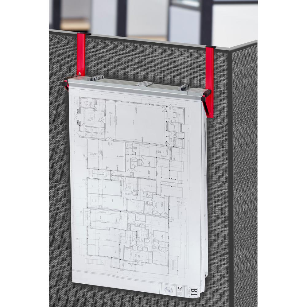 Gentil Cubicle Wall Rack For Blueprints, Red