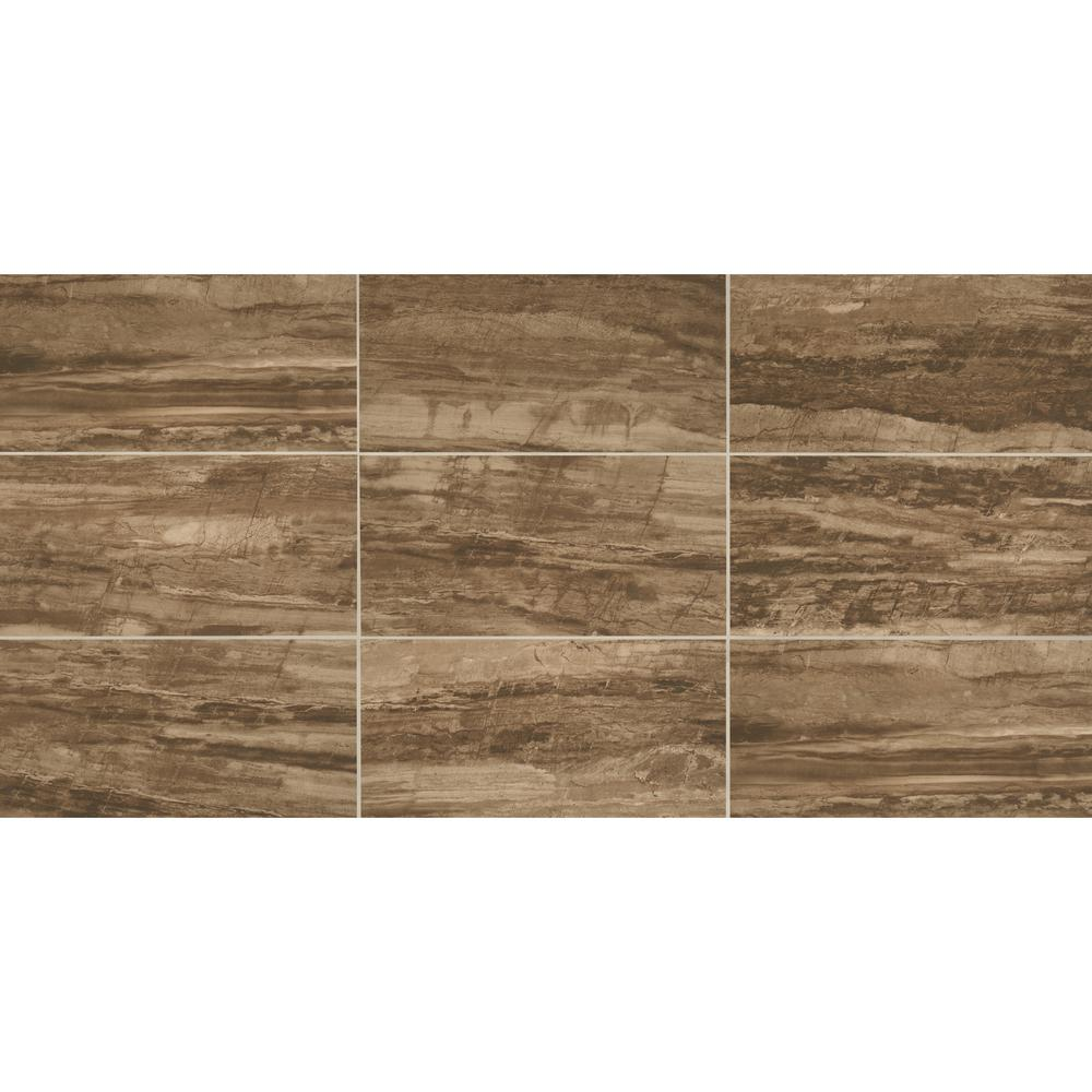 Sanford Deep Brown 12 in. x 24 in. Color Body Porcelain