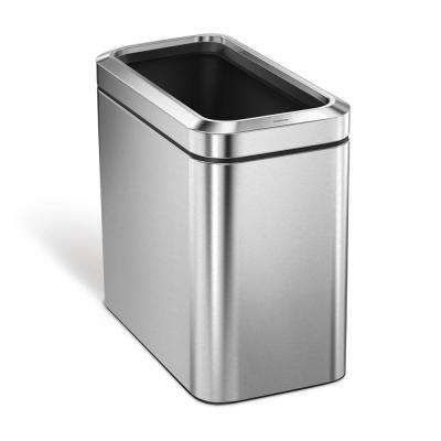 25 l Slim Open Trash Can, Brushed Stainless Steel