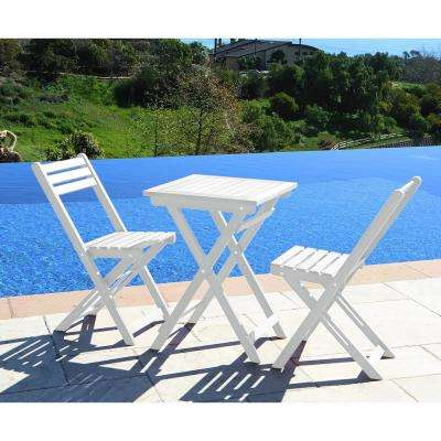 Bradley White 3-Piece Wood Outdoor Bistro Set