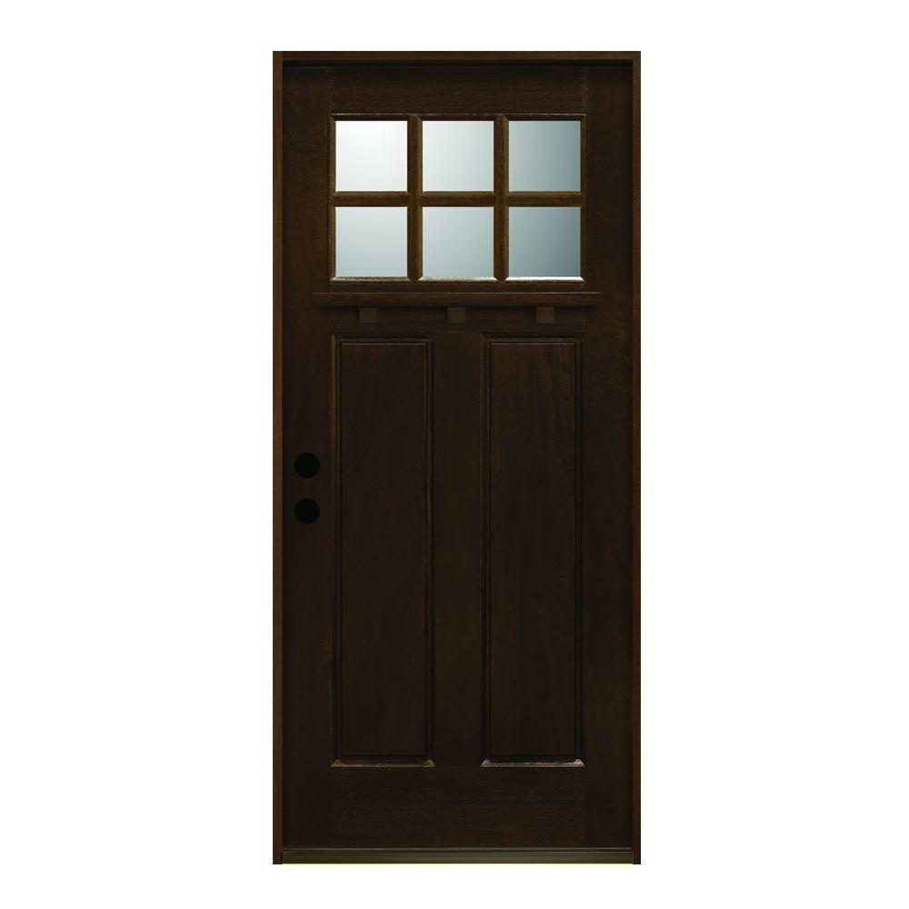 Superbe Main Door 36 In. X 80 In. Craftsman Collection 6 Lite Prefinished Antique  Mahogany