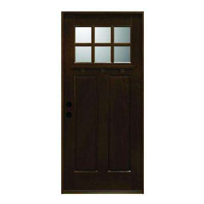36 in. x 80 in. Craftsman Collection 6 Lite Prefinished Antique Mahogany Type Solid Stained Wood Prehung Front Door