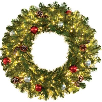 30 in. Pre-Lit Artificial Christmas Wreath with Ornaments and Pine Cones