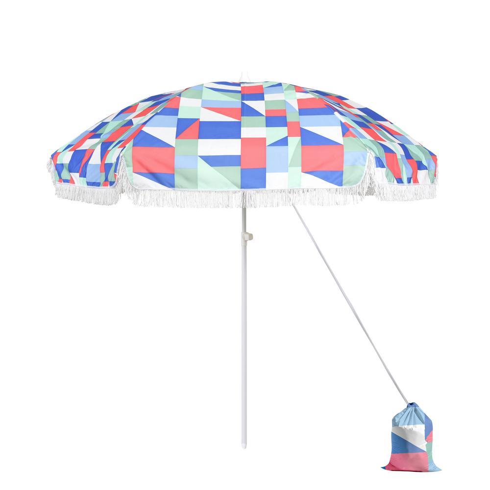 Astella 6 5 ft  Fiberglass Market Portable Beach Patio Umbrella in  Multi-Color