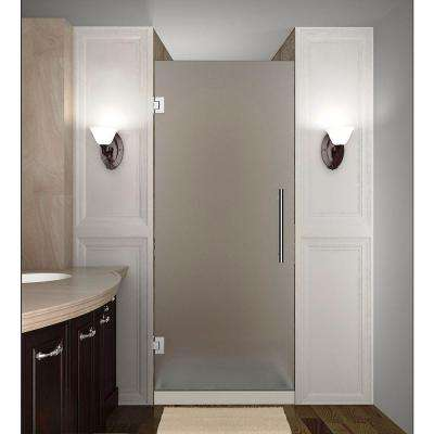 Cascadia 23 in. x 72 in. Completely Frameless Hinged Shower Door with Frosted Glass in Stainless Steel