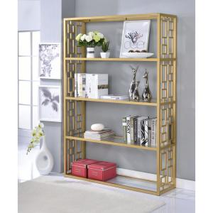 ACME Furniture Blanrio Etagere Clear Glass and Gold Bookcase by ACME Furniture