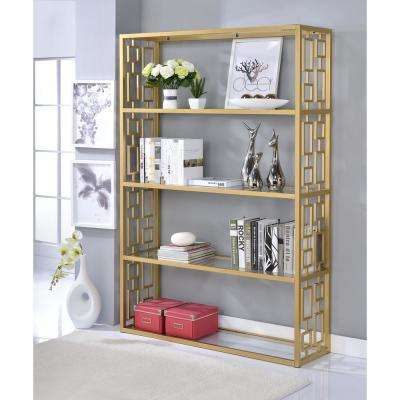 Blanrio Etagere Clear Glass and Gold Bookcase