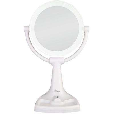17.5 in. L x 11 in. W Fluorescent Angle Adjustable Freestanding Bi-View 10X/1X Vanity Beauty Makeup Mirror in White