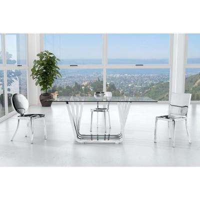 winter polished stainless steel dining chair set of 2 - Silver Dining Room Interior