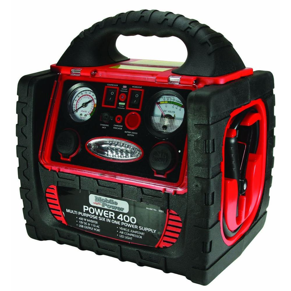 Mobile Power Instant Boost 400 6-in-1 12-Volt Battery Jumpstart System with Built-in 110-Vac Inverter and Air Compressor
