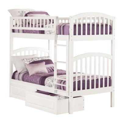 Richland Bunk Bed Twin over Twin with 2 Raised Panel Bed Drawers in White