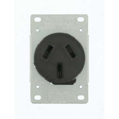 50 Amp 125 250 Volt Shallow Flush Mounted Single Outlet Black
