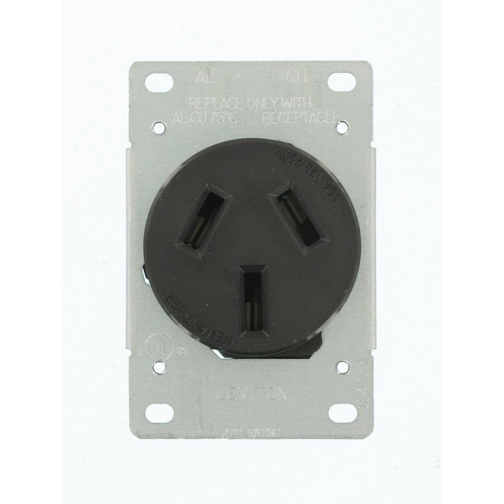 50 Amp 125/250-Volt Shallow Flush Mounted Single Outlet, Black