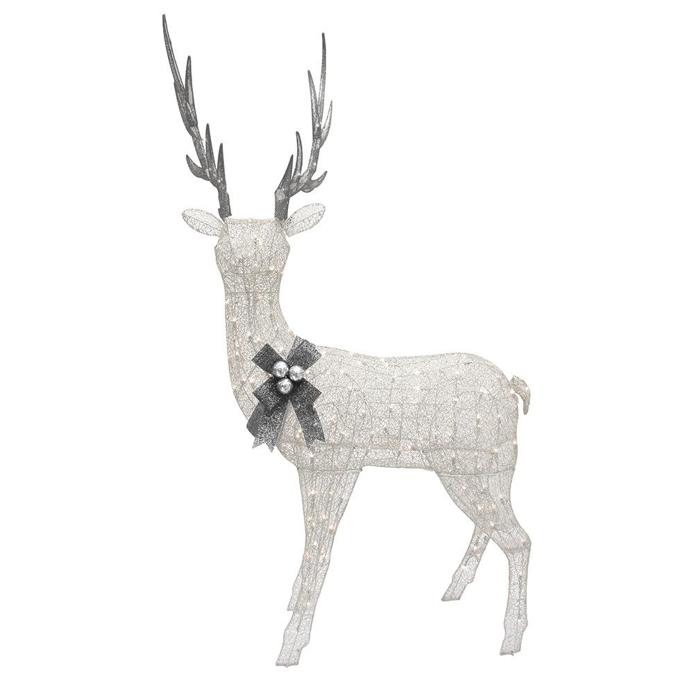Puleo 86 in. H Mesh Fabic Standing Elk with White Glitter...