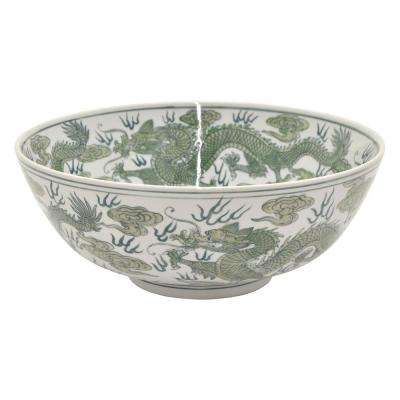 5.5 in. Ceramic Bowl Green and White