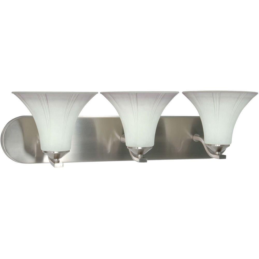 Glomar Delano - 3-Light Wall Vanity with Grey Suede Glass Brushed Nickel-DISCONTINUED