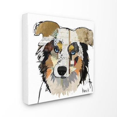"17 in. x 17 in. ""Paint Splatter Color Block Australian Shepherd Portrait"" by Michel Keck Canvas Wall Art"