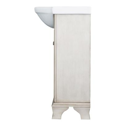 Corsicana 25 in. W x 19 in. D Vanity Cabinet in Antique White with Vitreous China Sink in White