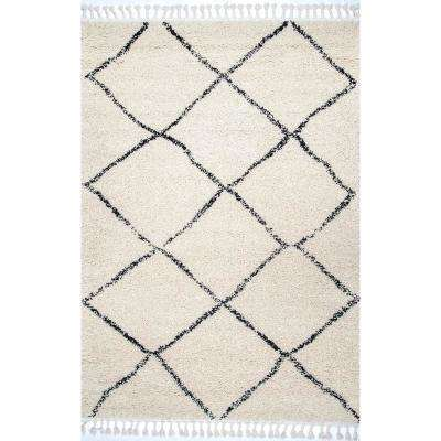 Jessie Moroccan Lattice Tassel Off White 7 ft. 10 in. x 10 ft. Area Rug