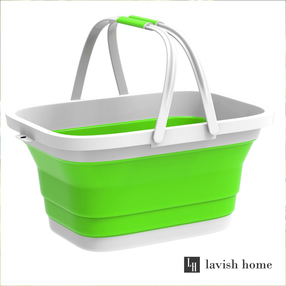 Green Collapsible Multi Use Plastic Basket With Comfort Grip Carrying Handles