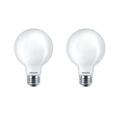 60-Watt Equivalent G25 Dimmable LED Light Bulb Soft White Frosted Globe (2-Pack)