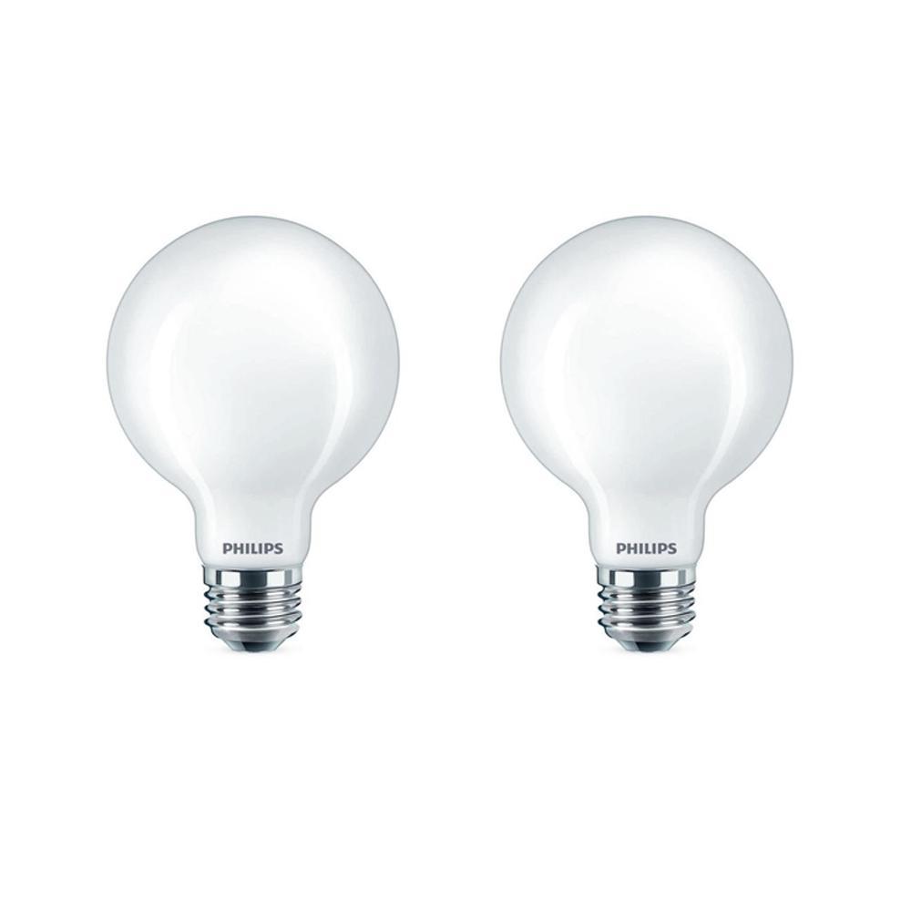 60-Watt Equivalent G25 Dimmable LED Light Bulb Soft White Frosted Globe (2-Pack)