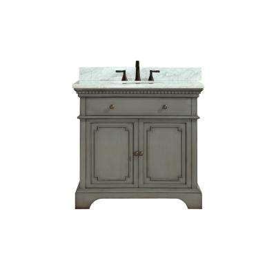 Hastings 37 in. W x 22 in. D x 35 in. H Vanity in French Gray with Marble Vanity Top in Carrera White with Basin