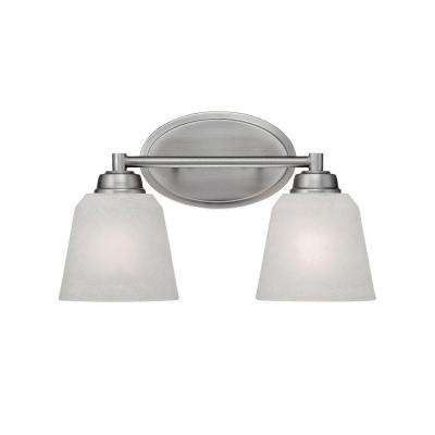 2-Light Brushed Pewter Vanity Light with India Scavo Glass