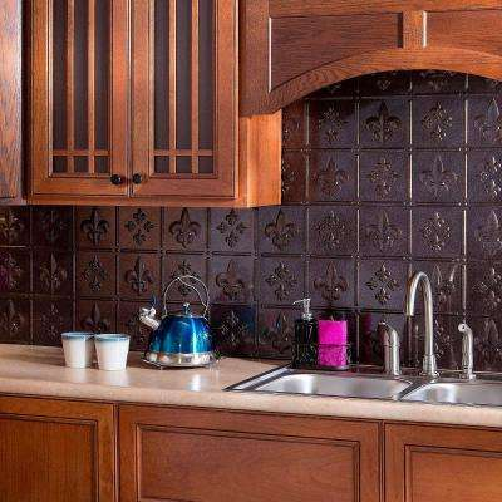 24 in. x 18 in. Fleur de Lis PVC Decorative Tile Backsplash in Smoked Pewter
