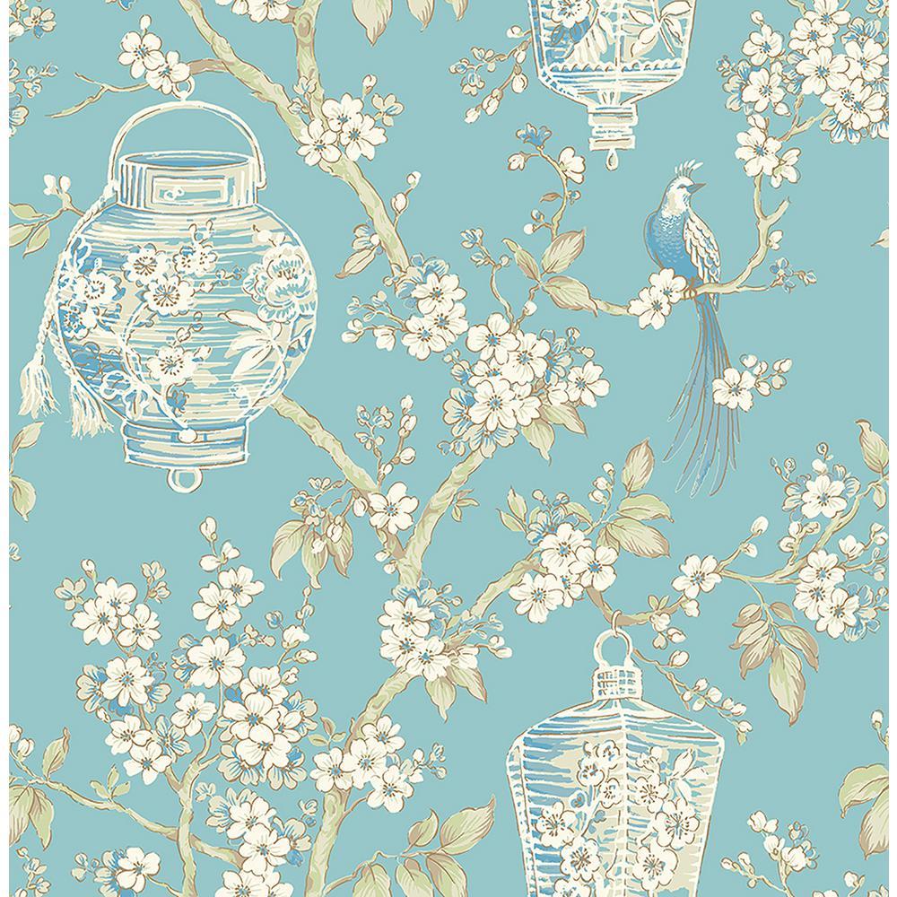 Serenity Turquoise Lanterns Wallpaper Sample