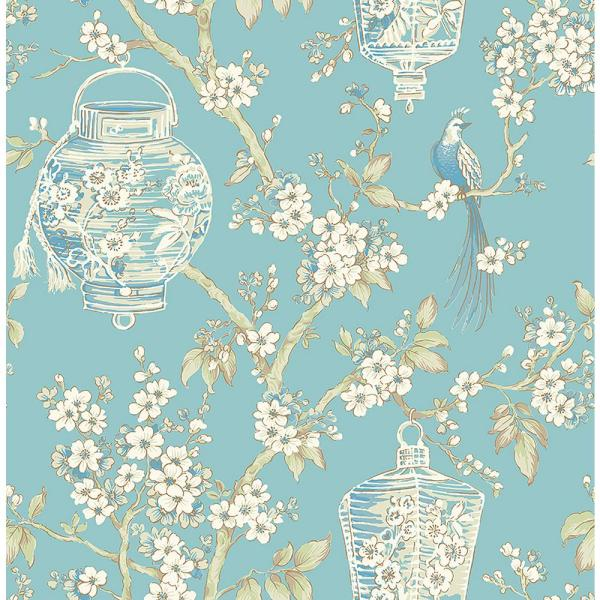 A-Street Serenity Turquoise Lanterns Wallpaper Sample 2702-22759SAM