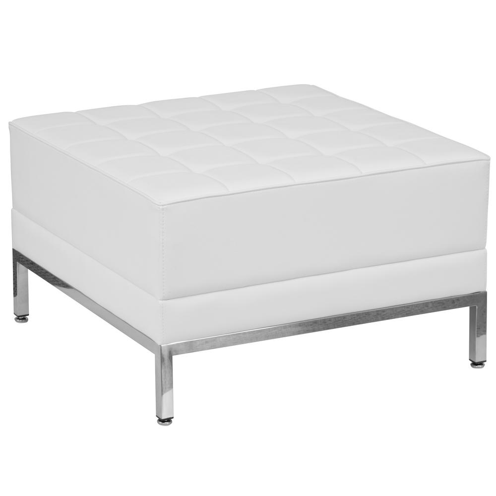 FLASH Hercules Imagination Series White Leather Ottoman