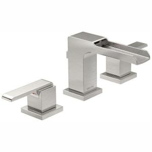 Ara 8 in. Widespread 2-Handle Bathroom Faucet with Channel Spout and Metal Drain Assembly in Stainless