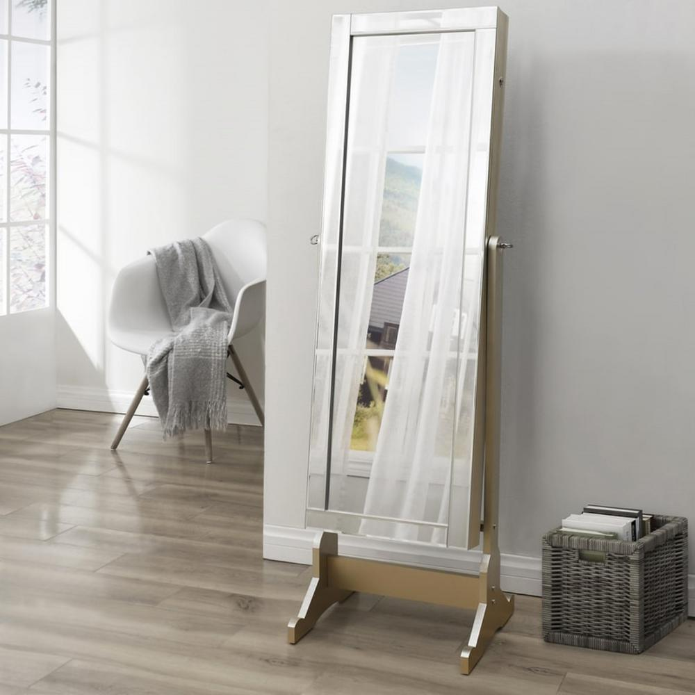 Adele Royal Champagne Cheval Floor Mirror Jewelry Armoire
