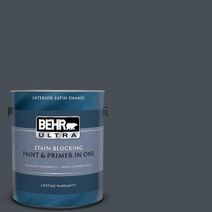Behr Ultra 1 Gal T15 2 Seared Gray Extra Durable Satin Enamel Interior Paint Primer 775301 The Home Depot
