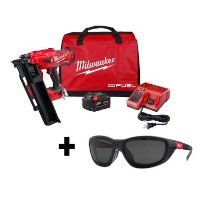 M18 FUEL 3-1/2 in. 18-Volt 21-Degree Lithium-Ion Brushless Framing Nailer Kit and Polarized Tinted Safety Glasses
