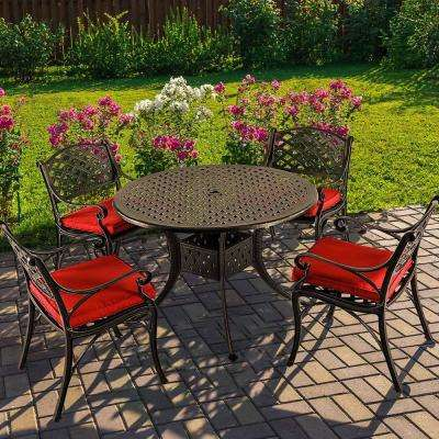 5-Piece Aluminum Outdoor Dining Set with Red Cushion