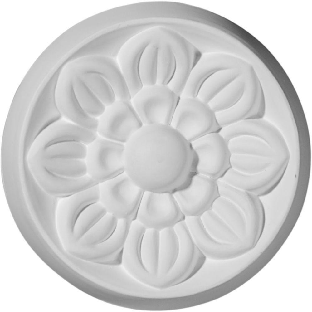 Ekena Millwork 3-7/8 in. x 5/8 in. x 3-7/8 in. Small Flower Rosette