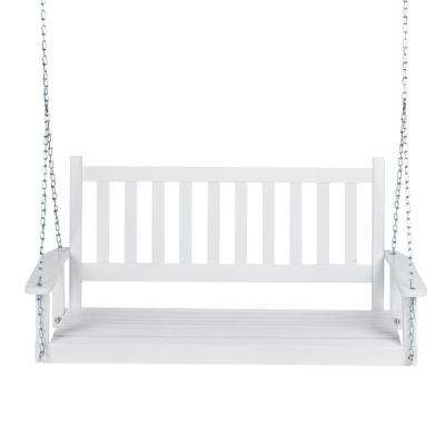 25.5 in. Tall Maine White Wood Porch Swing